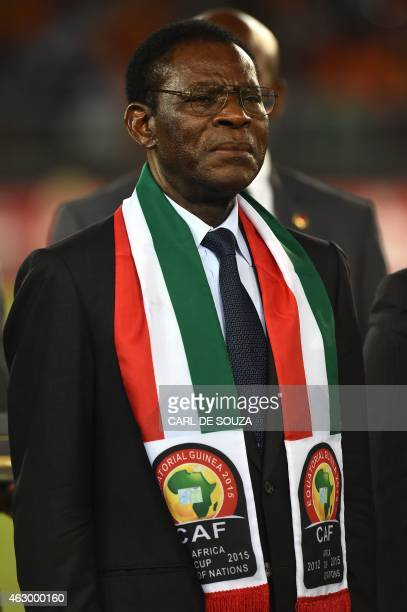 Equatorial Guinea's President Teodoro Obiang Nguema Mbasogo attends the 2015 African Cup of Nations final football match between Ivory Coast and...