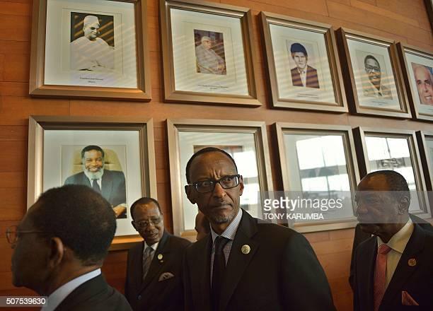 Equatorial Guinea's President Teodoro Obiang Nguema Mbasogo Chad's president Idriss Deby Rwanda's president Paul Kagame and Guinea's president Alpha...