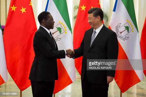 Equatorial Guinea's president Teodoro Obiang Nguema Mbasogo shakes hands with China's President Xi Jinping before their bilateral meeting at the...