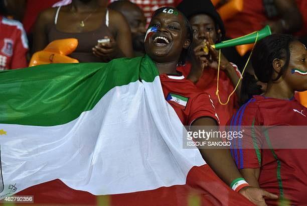 Equatorial Guinea's supporters cheer their team ahead of the 2015 African Cup of Nations semifinal football match between Equatorial Guinea and Ghana...