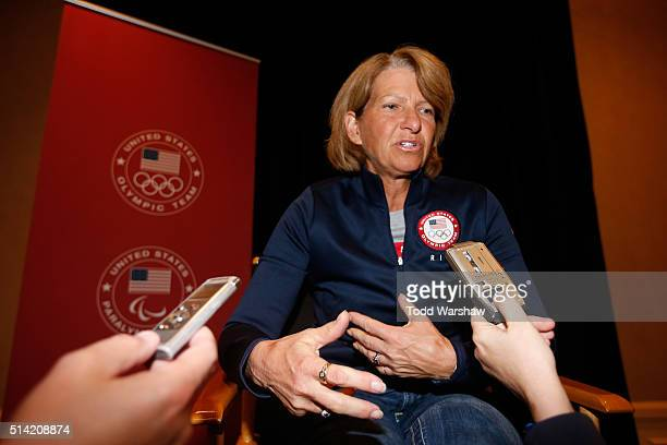 Equestrian athlete Beezie Madden addresses the media at the USOC Olympic Media Summit at The Beverly Hilton Hotel on March 7 2016 in Beverly Hills...