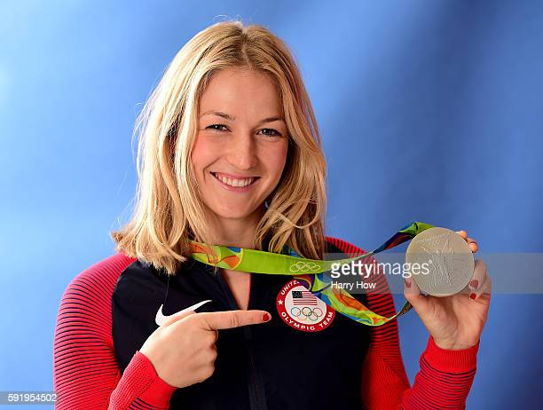 Equestrian athlete Lucy Davis of the United States poses for a photo with her silver medal on the Today show set on Copacabana Beach on August 18...