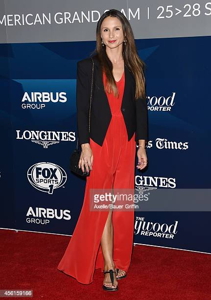 Equestrian Georgina Bloomberg arrives at the Longines Los Angeles Masters Red Carpet Evening Gala at Los Angeles Convention Center on September 25...