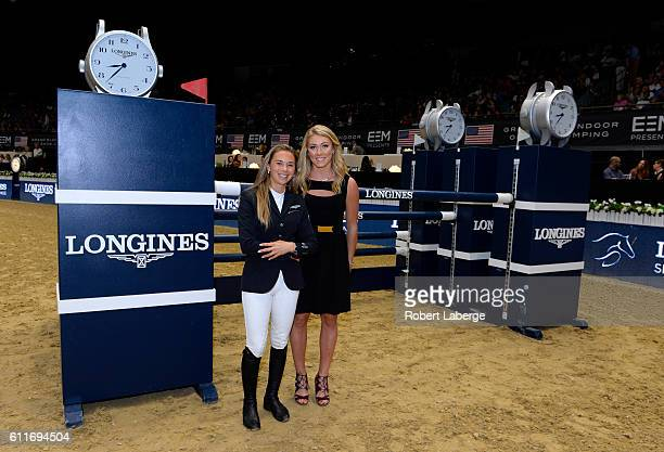 Equestrian Jane Richard Phillips poses with World Cup alpine ski racer Mikaela Shiffrin before the Longines Speed Challenge for the Longines Masters...