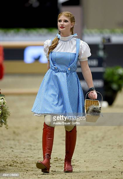 Equestrian Jennifer Gates performs at the 2nd Annual Longines Masters of Los Angeles at Los Angeles Convention Center on October 3 2015 in Los...