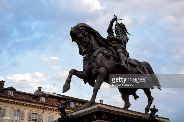 Equestrian monument of Emmanuel Philibert in Piazza San Carlo is pictured in the evening