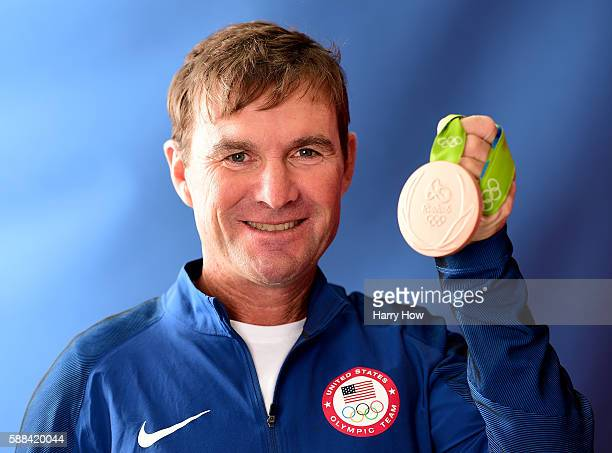 Equestrian, Phillip Dutton of the United states poses for a photo with his bronze medal on the Today show set on Copacabana Beach on August 10, 2016...