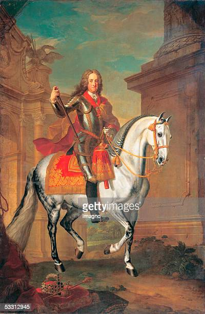 Equestrian picture of Emperor Charles V. At the winter riding school?s court box in Vienna.The Karster grey horse painted by Johann Georg von...