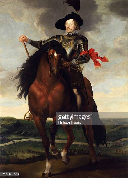 Equestrian portrait of Crown Prince Wladyslaw Vasa with the Battle of Khotyn in the background ca 1624 Found in the collection of Wawel Royal Castle...