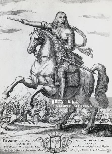 Equestrian portrait of Francis of BourbonVendome second Duke of Beaufort and French general engraving by Nicolas de La Fage
