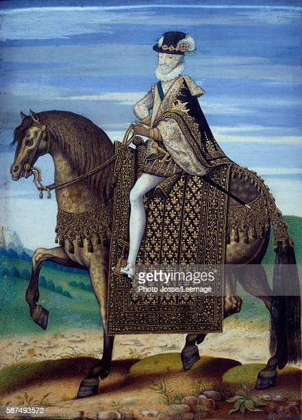Equestrian portrait of Henri IV 16th century Anonymous painting of the French School 16001610 gouache on parchment mounted on wood Conde Museum...