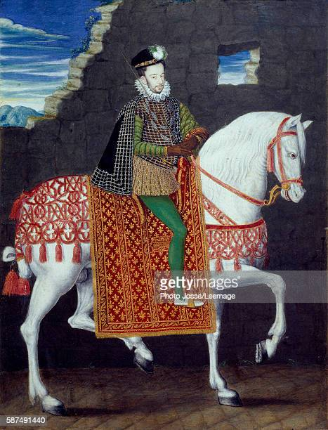 Equestrian portrait of Henry III King of France Anonymous painting Gouache 16th century 027 x 02 m Conde Museum Chantilly France