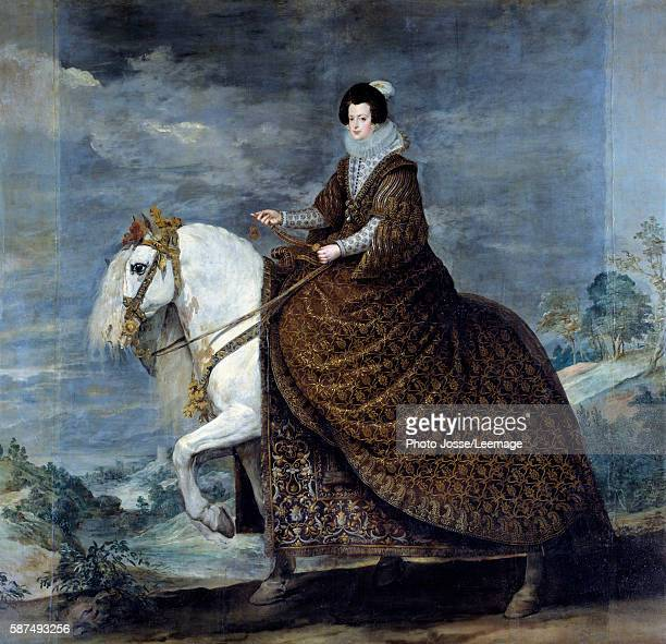 Equestrian portrait of Isabelle of France wife of Philip IV of Spain 1616 Painting by Diego Velazquez c 1635 301 x 314 m Prado Museum Madrid Spain