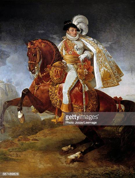 Equestrian portrait of Jerome Bonaparte King of Westphalia Painting by Antoine Jean Gros called baron Gros 1808 321 x 265 m Versailles chateaux de...