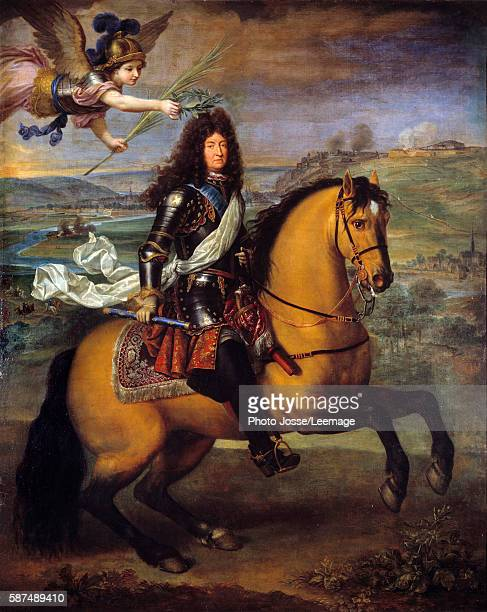 Equestrian Portrait of Louis XIV crowned by Victory . Painting by Pierre Mignard 1692 59 x 2,60 m. Oil on canvas. Chateau de Versailles, France