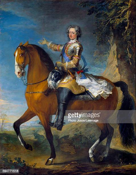 Equestrian portrait of Louis XV King of France at the age of thirteen Painting by Jean Baptiste Van Loo and Charles Parrocel 18th century Oil on...