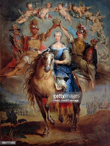 Equestrian portrait of Maria Theresa of Austria HabsburgLorraine Queen of Hungary Painting by Francois Eisen 1757 Historical Museum of Lorraine Nancy...
