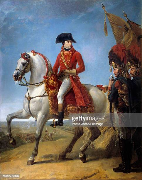 Equestrian portrait of Napoleon Bonaparte with soldiers after Battle of Marengo Painting by Jean Antoine Gros oil on canvas 1803 Musee du chateau...