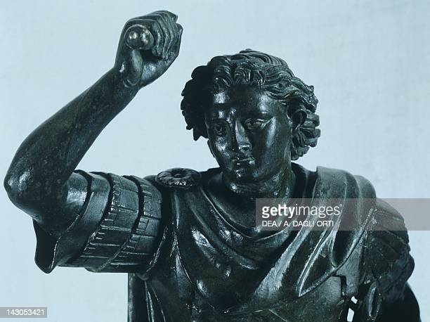 Equestrian statue of Alexander in bronze from Herculaneum Italy Detail showing the head Roman civilization end of the 1st Century AD Naples Museo...
