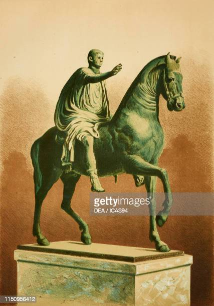 Equestrian statue of Caligula that decorated the arch at the beginning of Via di Mercurio Pompeii Campania Italy chromolithograph by D Capri from a...