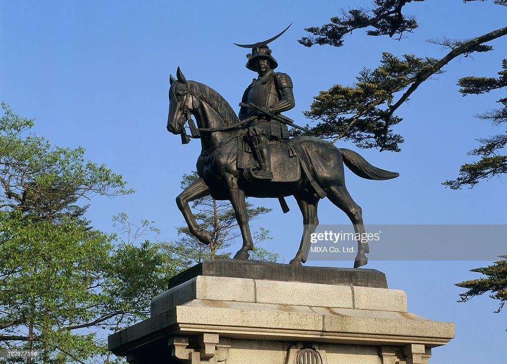 Equestrian Statue of Date Masamune, Sendai, Miyagi, Japan : Stock Photo
