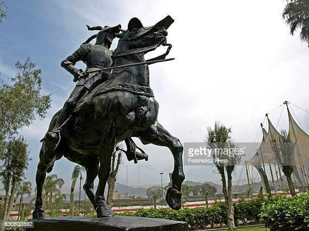 Equestrian statue of Francisco Pizarro conqueror of Peru and founder of the city of Lima Work of the American sculptor Charles Cary Rumsey