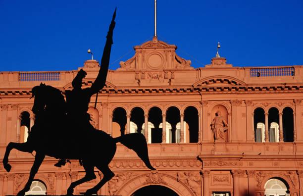 Equestrian statue of General Manuel Belgrano in front of Government House (Casa de Gobierno/ Casa Rosada), Plaza de Mayo, Buenos Aires, Argentina