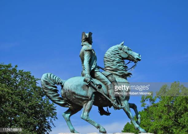 equestrian statue of george washington in washington circle (washington,d.c.), against blue sky - general military rank stock pictures, royalty-free photos & images