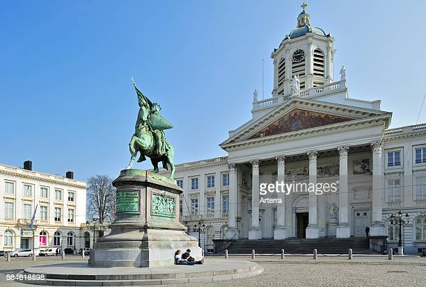 Equestrian statue of Godfrey of Bouillon and the Church of Saint Jacques-sur-Coudenberg at the Place Royale / Royal Square / Koningsplein, Brussels,...