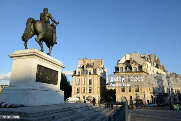 Equestrian statue of Henry IV on the 'Pont Neuf' in Paris on October 20 2015 in Paris France