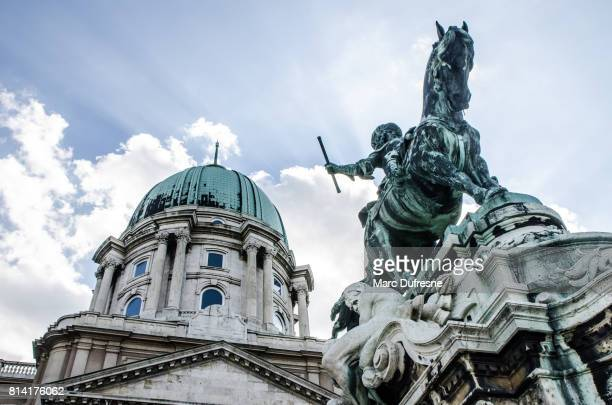 equestrian statue of prince savoyai eugen in front of the historic royal palace in buda castle. budapest during summer day - royal palace budapest stock pictures, royalty-free photos & images
