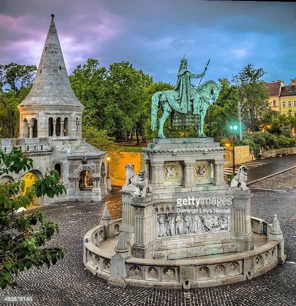 Equestrian statue of Stephen I of Hungary at the Fisherman's Bastion in Budapest.