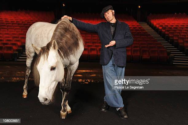 """Exclusive *** Equestrian theatre artist, Bartabas poses with one of his horses """"Le Tintoret"""" at La Coursive Theatre on January 12, 2011 in La..."""