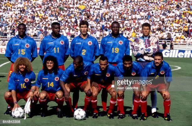 Equipe Colombie Roumanie / Colombie Coupe du Monde 1994 Photo Alain Gadoffre / Icon Sport Oscar Cordoba / Andres Escobar / Luis Fernando Herrera /...