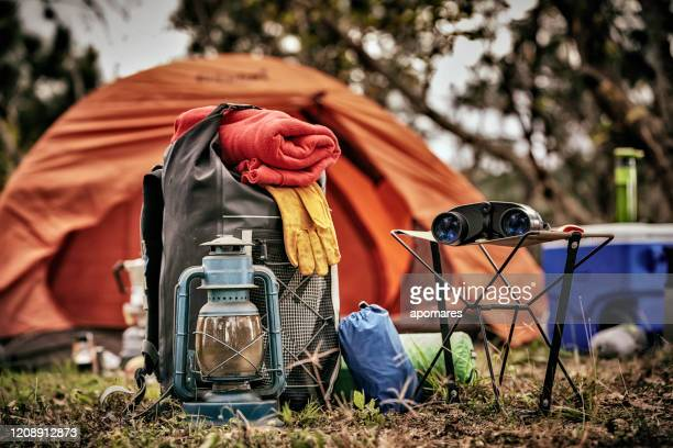 equipment and accessories for mountain hiking in the wilderness - camping stock pictures, royalty-free photos & images