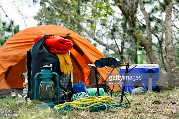 equipment and accessories for mountain hiking in the wilderness - camping stock photos and pictures