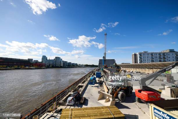 Equipment and machinery on the dockside at the Thames Tideway Tunnel super sewer construction project in London, U.K., on Wednesday, Oct. 6, 2021....