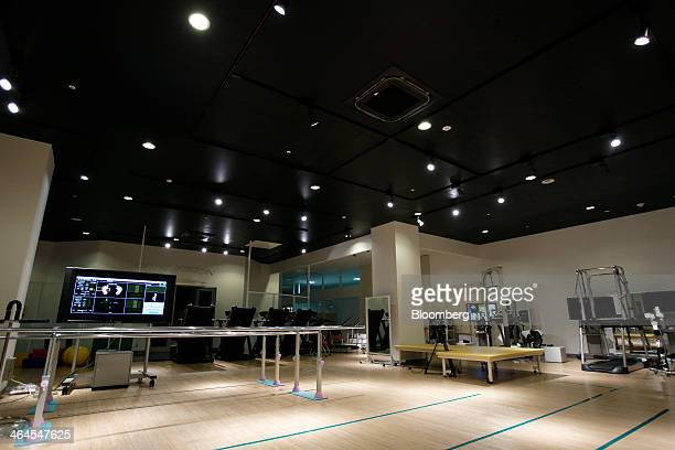 Equipment and monitors stand at Cyberdyne Inc's training facility for its Hybrid Assistive Limb exoskeleton in Tsukuba Ibaraki Prefecture Japan on...