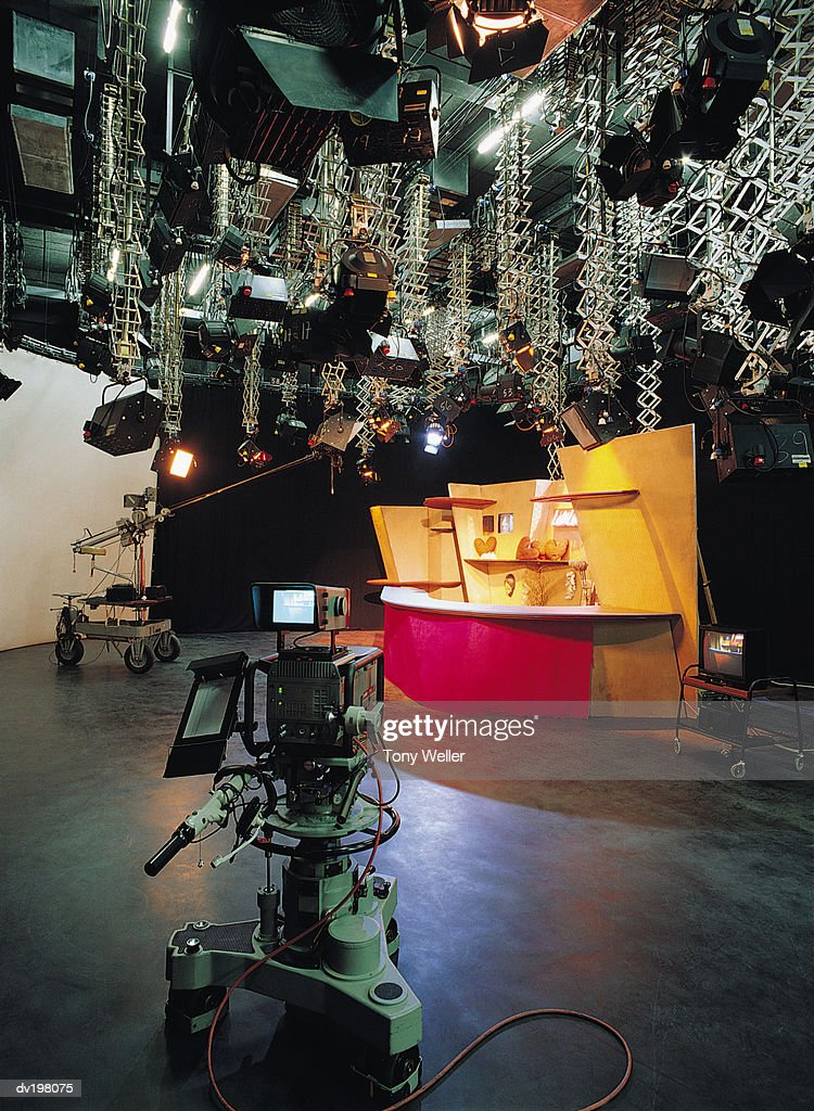 Equipment and set in television studio : Stock Photo