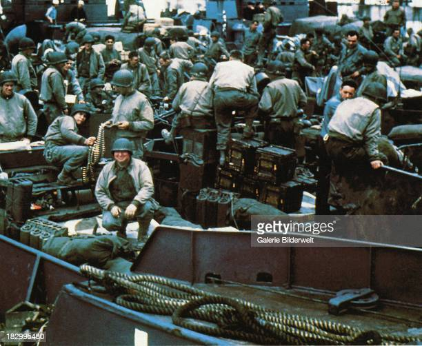 Equipment and troops have been loaded into a Landing Craft Tank in Southern England 5th June 1944 This ship will participate in the invasion of...