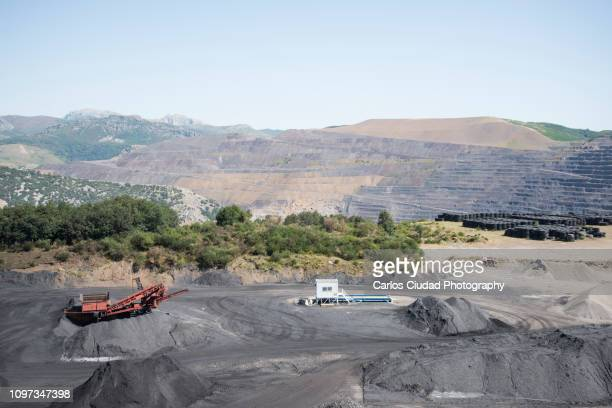 Equipment for coal extraction in an open pit mine of the Cantabrian Range, Spain