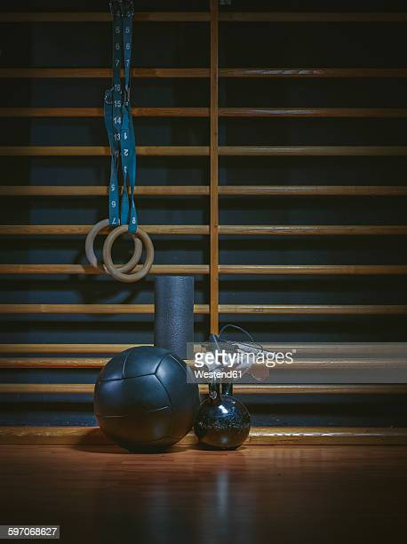 equipment for functional training at wall bars in gym - exercise equipment stock photos and pictures