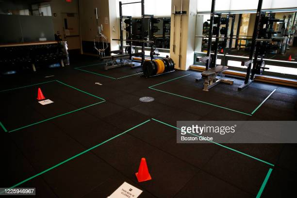 Equipment has been removed to allow for the 14 foot social distancing required by the state at Healthworks in Cambridge, MA on July 5, 2020 as they...