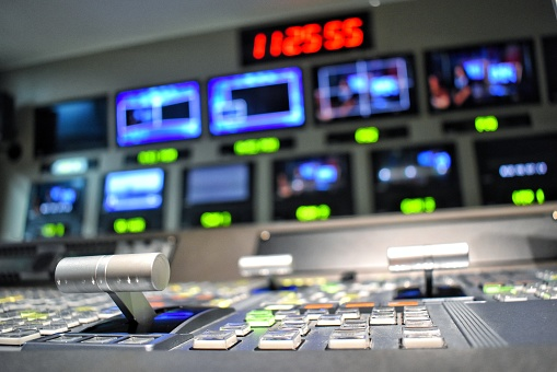Equipment in control room for television production. 1169474361