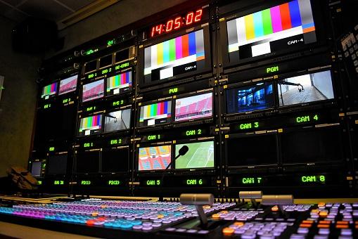 Equipment in outside broadcasting van. 1169475494