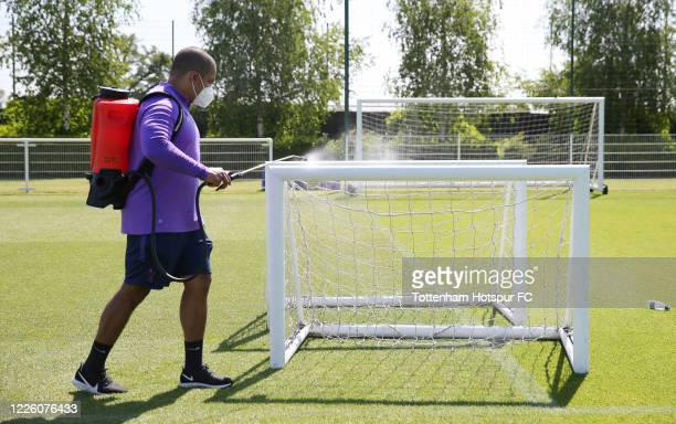 Equipment is disinfected between training sessions during the Tottenham Hotspur training session at Tottenham Hotspur Training Centre on May 20 2020...