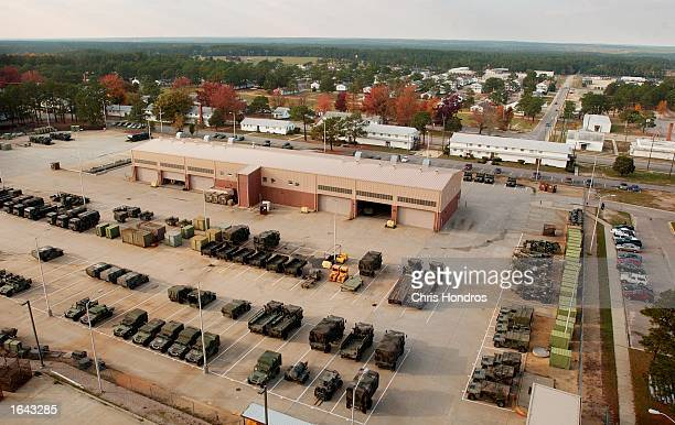 Equipment lies ready to go November 14 2002 in an overall view of Ft Bragg North Carolina Ft Bragg one of the country's main military bases and...