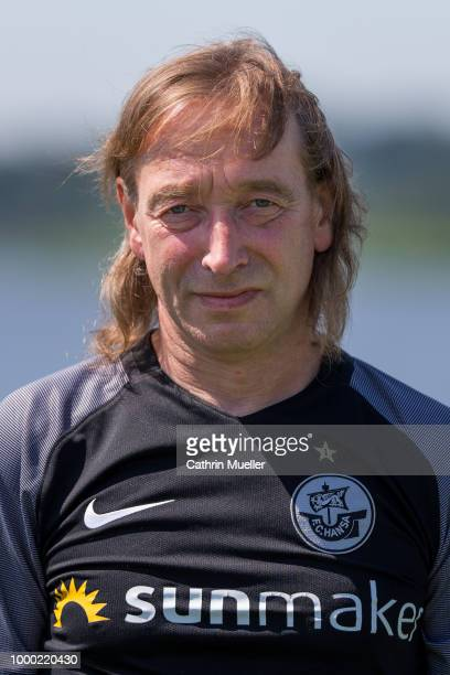 Equipment Manager Andreas Thiem of Hansa Rostock poses for a photo during a team presentation on July 16 2018 in Rostock Germany