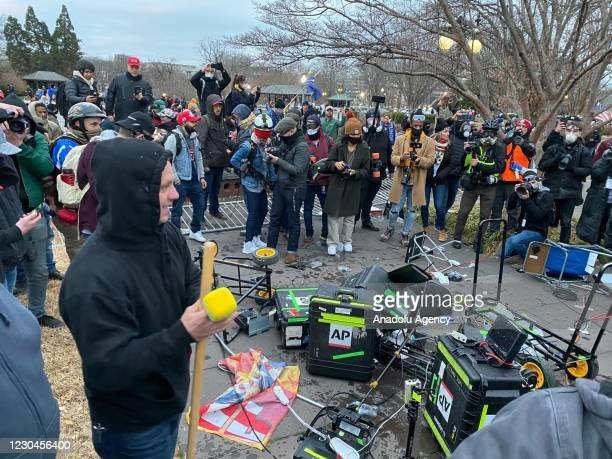 Equipment of media crews damaged during clashes after the US President Donald Trumps supporters breached the US Capitol security in Washington D.C.,...