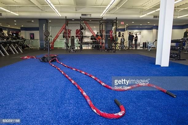 Equipment part of the Gronk Zone at Boston Sports Club on December 27 2016 in Medford Massachusetts Patriots player Rob Gronkowski was on hand for...